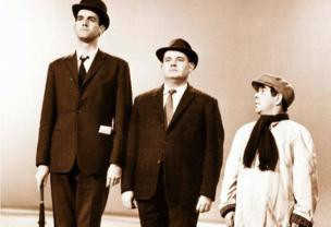 Fellow comedians John Cleese, Ronnie Barker and Ronnie Corbett in the class sketch, which was first broadcast on The Frost Report in 1966