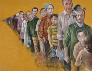 Fila de refugiados para obtener comida
