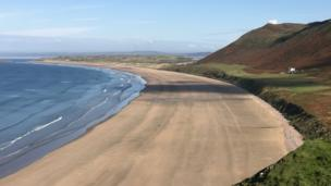 The stunning beach at Rhossili Bay, taken by Janet Jenkins