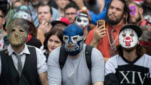 Juggalos, fans of the band Insane Clown Posse, listen to a speaker during the Juggalo March at the Lincoln Memorial in Washington, DC, USA, 16 September 2017