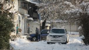اولین برف زمستانی در دوشنبه پایتخت تاجیکستان