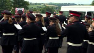 Bands parading to the field in Scarva, Craigavon, 13 July 2017