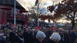 A packed service in Caerphilly, held by the Caerphilly branch of the Royal British Legion