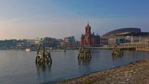 A sunny view of Cardiff Bay.