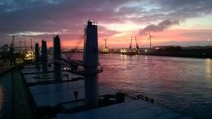 """Sittin' on the dock of the bay - this shot was taken by Steve Colledge as he watched the vessel """"Sunrise Bright"""" arrive at Newport"""