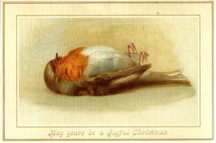 Victorian Christmas card with a dead robin