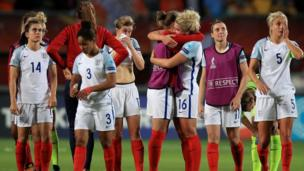 """England players appear dejected after the final whistle during the UEFA Women""""s Euro 2017 match at the De Grolsch Veste, Enschede."""