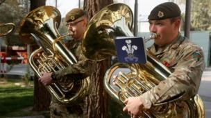 British soldiers in Kabul, Afghanistan take part in a Remembrance Day service