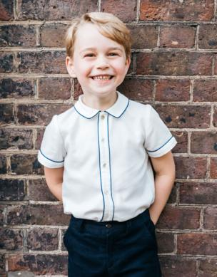 Prince George in his official fifth birthday portrait