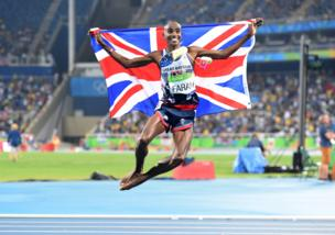 Mo Farah after winning the 5,000m Olympic gold medal