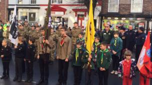 Scouting organisations took part in services, like the one held in Llanidloes