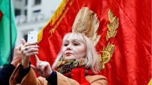Belarus communist in Minsk, 7 Nov 17