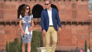 Duke and Duchess of Cambridge at the Taj Mahal site