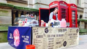 Phone box used as a coffee shop in Birmingham