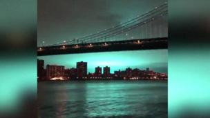 Still from AFP video shows blue sky over New York
