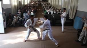 نمایش کاراته از سوی گروه کاراته مجتمع جامعه مدنی بدخشان
