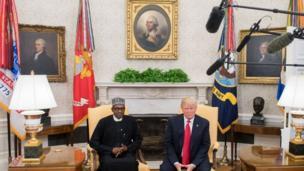 Shugaba Muhammadu Buhari da Shugaba Donald Trump na jawabi