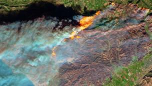Satellite images show the flames from space.