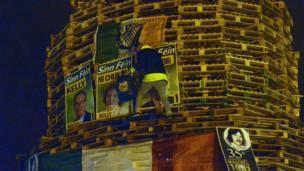 Sinn Fein posters on Chobham Street bonfire