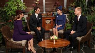 Герцог и герцогиня Кембриджские с премьер-министром Джастином Трюдо и его супругой Софи Грегуар.