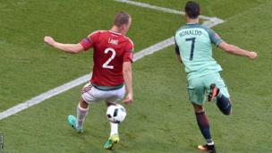 Cristiano Ronaldo scores against Hungary