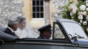 Pippa Middleton arrives for her wedding
