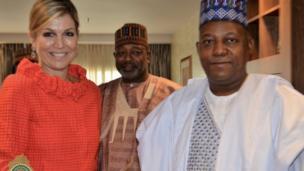 Gwamnan jihar Borno Kashim Shettima yayin da Sarauniyar Máxima Cerruti ta masarautar kasar Netherlands ta kawo masa ziyara a Maiduguri ranar Juma'a