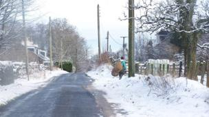 Man goes to feed livestock in the snow