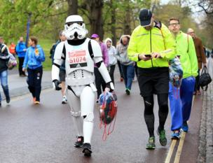 A Storm Trooper walks to the starting line