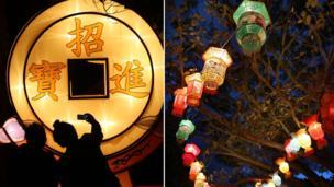 今年的灯会展出约800盏彩灯题材包罗万有,包括鸡年、舞龙、舞狮、北极熊和传统灯笼等。