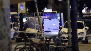 A van being towed away