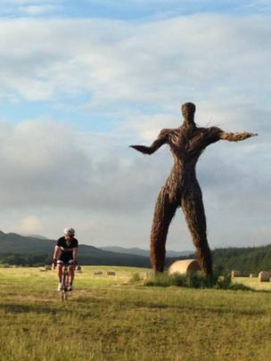 Jamie on his evening cycle passing Wickerman festivalsite in Dundrennan.
