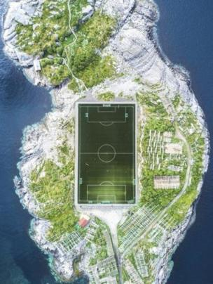 Misha De-Stroyev captured this football pitch in Henningsvaer in the Lofoten Islands, Norway, from a height of 120m (394ft). Although the week before was rainy and cold, it cleared up enough on the day for him to be able to fly his drone and get this shot.