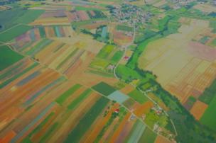 An aerial view of farmland.