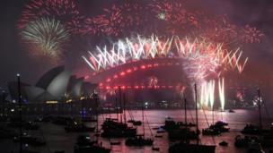 Tahun baru, kembang api, Sydney, Australia