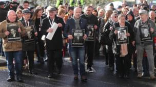 Relatives of some of those killed on Bloody Sunday after the announcement that one soldier was to be prosecuted