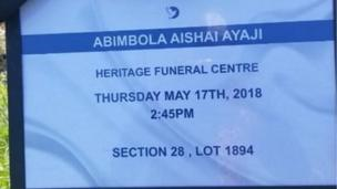 Isinku Aisha Abimbola ní Canada