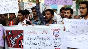 巴基斯坦城市卡拉奇反情人节示威
