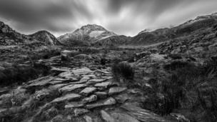 Snow-capped Tryfan in Snowdonia, taken by Stephen Morris