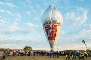 The balloon of Russian adventurer Fedor Konyukhov being inflated as its gondola sits on the ground, prior to the start of his solo round-the-world balloon flight, near Northam in Western Australia, 12 July 2016.