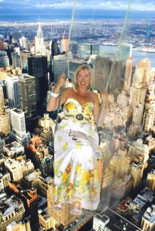 A woman on a swing has been edited into a photo of New York city from above.