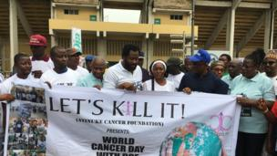 Lagos State Commissioner for Health Dr Idris, Desmond Elliot, Tinu Lawal and oda pipo for di 5km waka for cancer