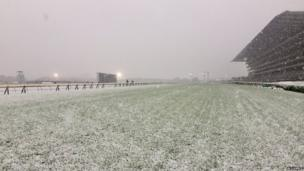 Racecourse covered in snow.