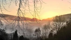 Mist over Vivod near Llangollen
