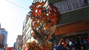A close-up of a headpiece