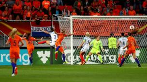 Vivianne Miedema of The Netherlands scores the opening goal of the game