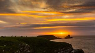 Sunset over Worms Head by Richard Moult