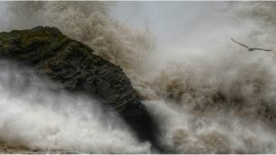 Stormy seas at Llangrannog, Ceredigion.