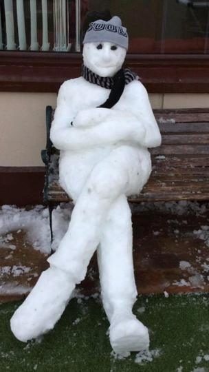 Chloe Henning sent in this snowman - fresh from the snow today in Newry