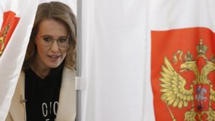 Presidential candidate Ksenia Sobchak votes in Moscow on 18 March 2018